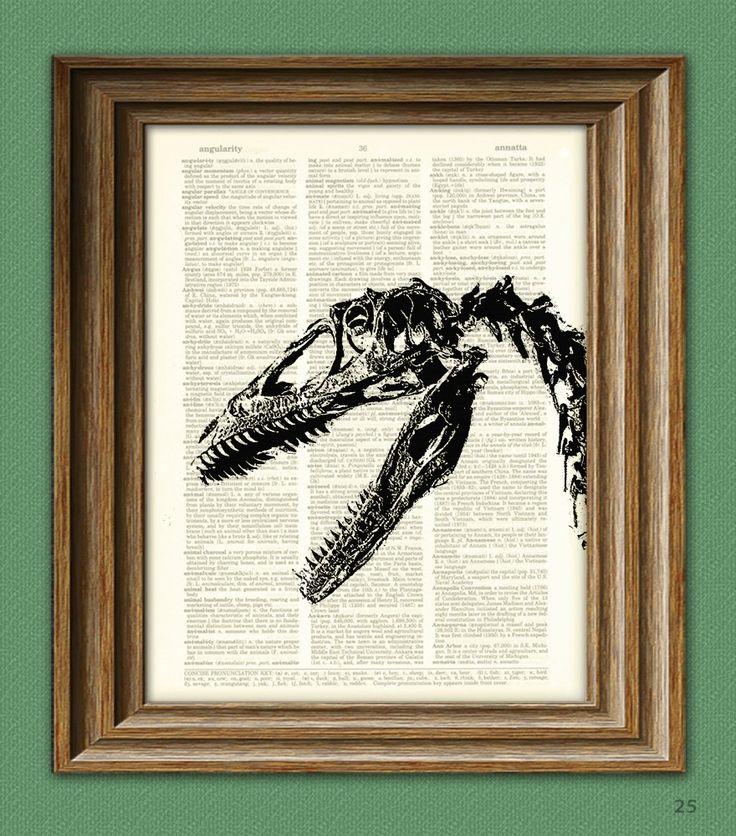 EEEK Velociraptor dinosaur skeleton skull by collageOrama on Etsy, $7.99