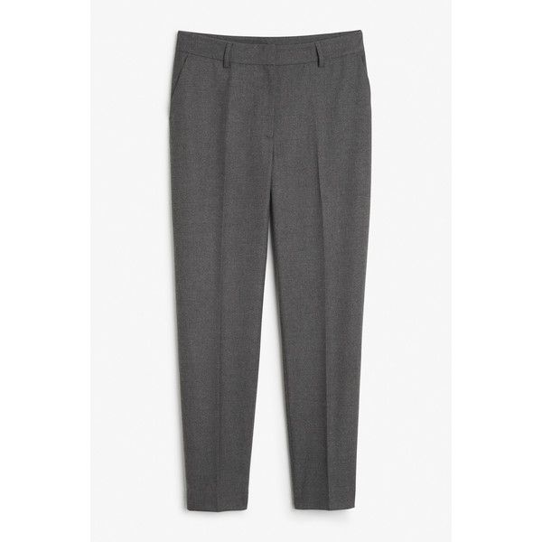 Monki Tapered trousers (2.875 HUF) ❤ liked on Polyvore featuring pants, grey melange, flannel trousers, monki, grey flannel trousers, grey flannel pants and gray flannel pants