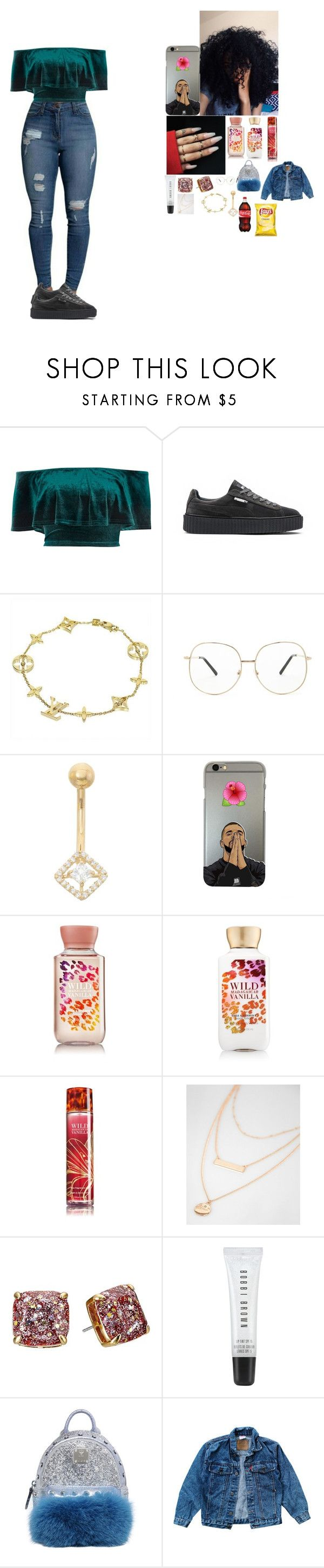 """~ school outfit ~"" by foodislyfe ❤ liked on Polyvore featuring River Island, Puma, Louis Vuitton, Forever 21, Gioelli, Wet Seal, Kate Spade, Bobbi Brown Cosmetics, MCM and Levi's"