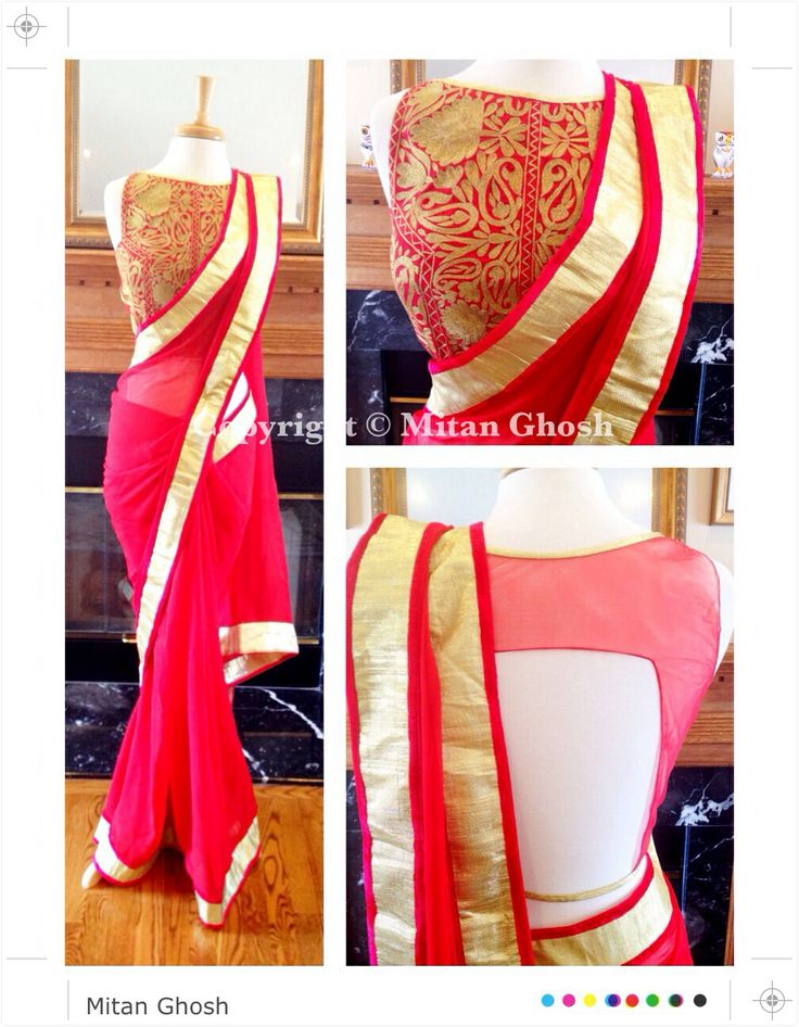 Kashmiri embroidery with Zari blouse with georgette saree.