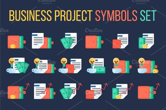 Business Project Symbols Set by barsrsind on @creativemarket