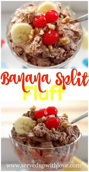 Banana Split Fluff recipe from Served Up With Love. Chocolate pudding, fruit cocktail, banana slices, and marshmallows make up this wonderful dessert that tastes just like a banana split. www.servedupwithlove.com