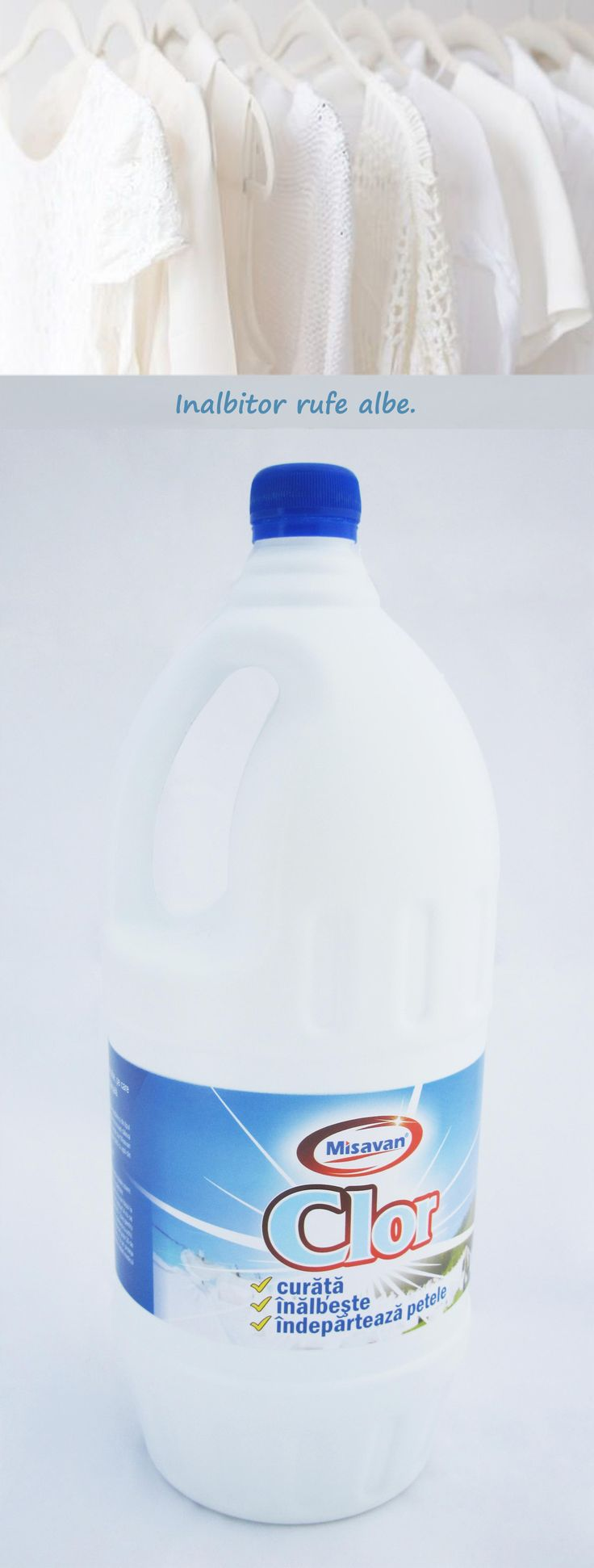 Scoate petele dificile de pe rufele albe cu: http://www.produse-horeca.ro/baie/misavan-clor-2l #curatenie #clor #misavan