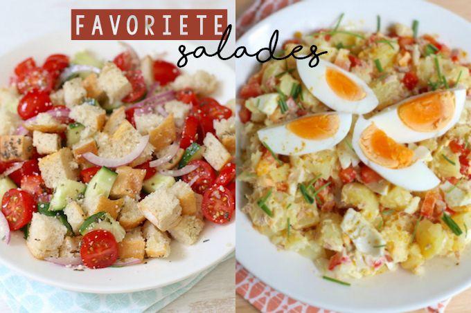 We laten jullie vandaag onze vijf favoriete salades zien. Van een pastasalade tot een rijstsalade, wij zijn er dol op! Eet smakelijk!