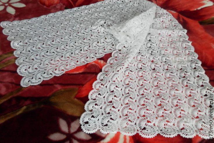 Купить палантин нарядный ленточное кружево - белый, однотонный, подарок, подарок…