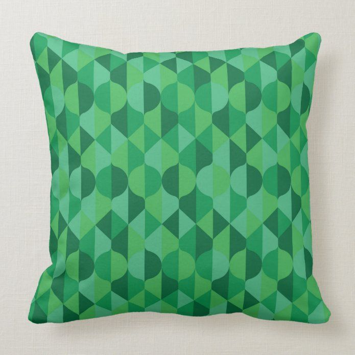 Abstract Green Leaves Geometric Pattern Throw Pillow Zazzle Com Throw Pillows Patterned Throw Pillows Geometric Pattern