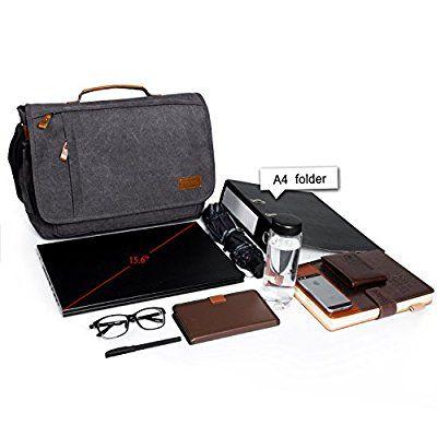 Estarer Umhängetasche / Laptoptasche 15.6 Zoll für Arbeit Uni aus Canvas Grau: Amazon.de: Koffer, Rucksäcke & Taschen