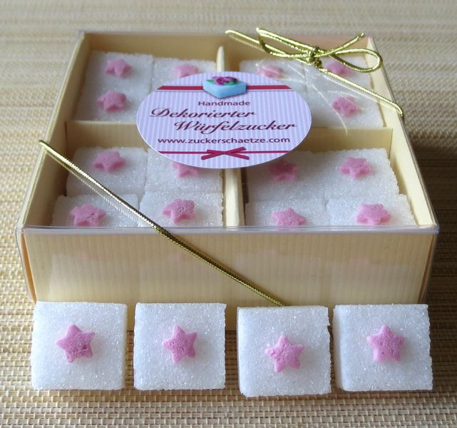 Zucker Würfel rosa Sternchen Taufe Geburt Geschenk von Zuckerschätze auf DaWanda.com