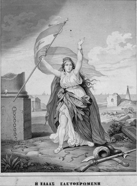 Η Ανάσταση της Ελλάδας,  Σχέδιο Ραβό,  λιθογραφία ντε Σ. Μοτ,  Παρίσι 1822.  Εθνικό Ιστορικό Μουσείο