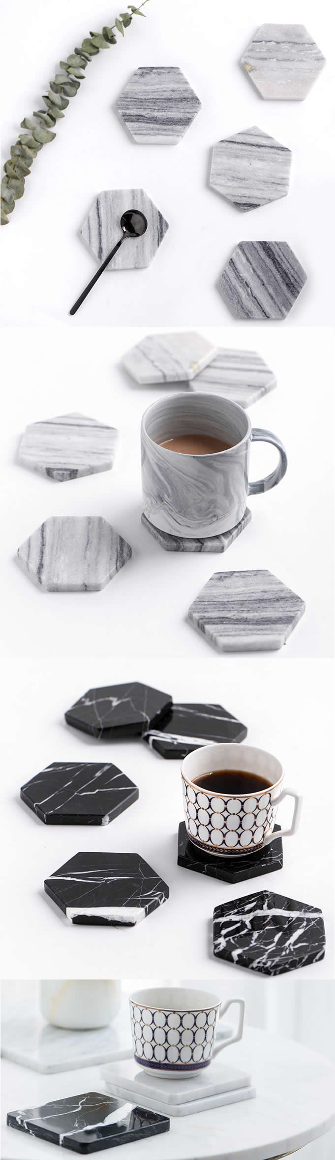 They'll LOVE These Marble Stone Hexagonal Coaster Coasters — keeping surfaces protected in natural style.