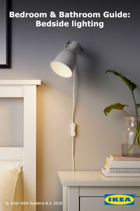 Hang spotlights next to the bed for night-time reading and focused light. Find more options for your perfect bedside lighting in the IKEA Bedroom & Bathroom Guide.