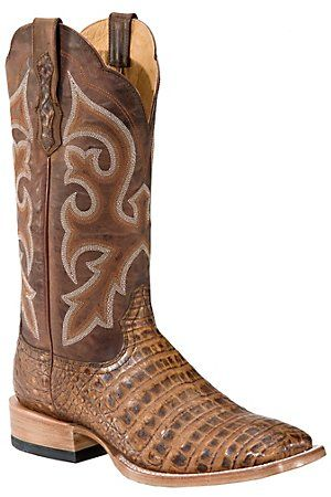 Ariat Latigo Men's Antique Pecan Brown Caiman Gator Belly Exotic Square Toe Boots