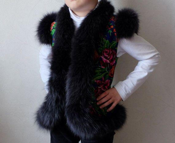 Handmade Children's Vest floral woolen scarf by MadeInTheUSSR