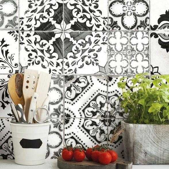 Roommates Black Mediterranean Tile Peel Stick Wallpaper Peel And Stick Wallpaper Mediterranean Tile Wallpaper Roll