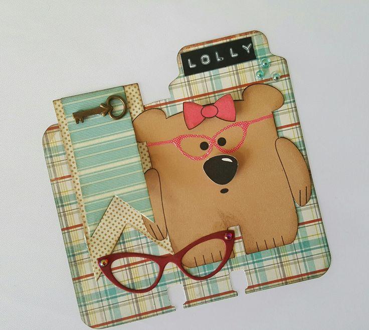 Polly bear digital design on Rolodex card, by Lolly. #lollyfiles #rolodex #memorydex