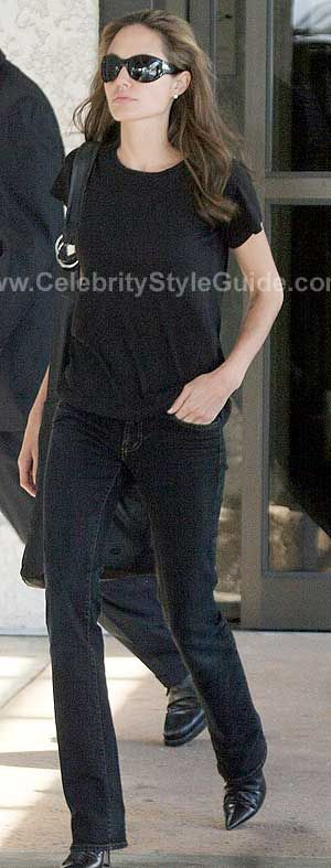 Angelina Jolie Style and Fashion - J Brand Slim Fit Pencil Leg jeans in black
