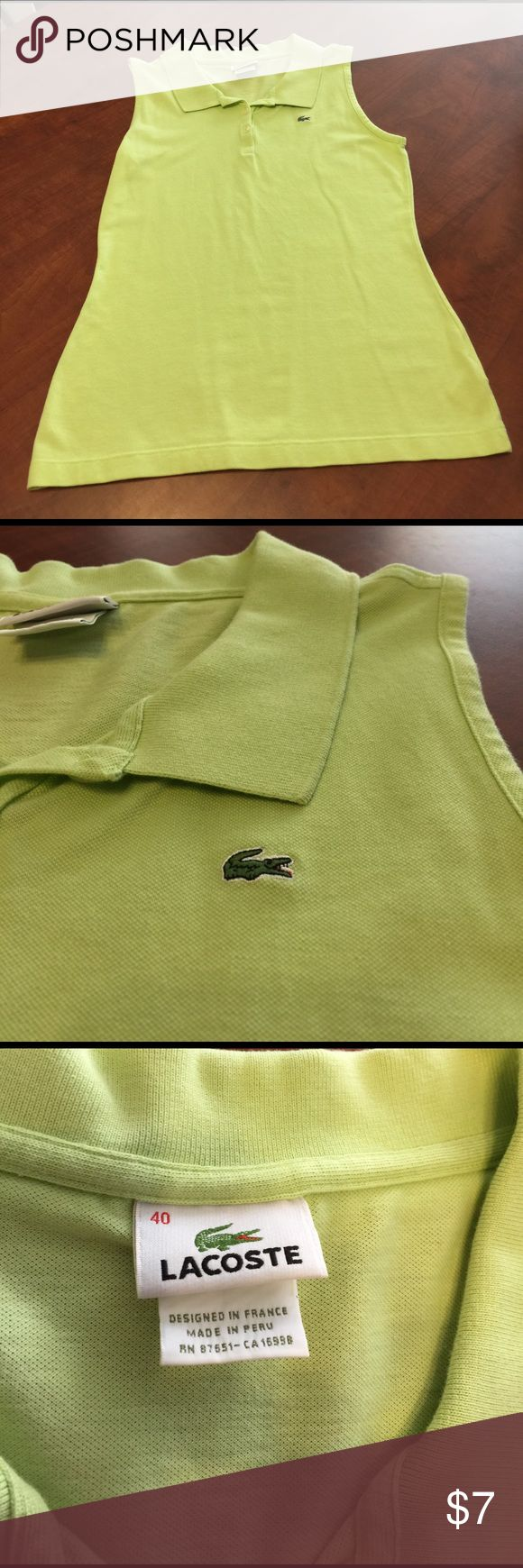 Lacoste shirt in lime green so pretty Lacoste shirt in lime green is so pretty. Size 40 is like a medium Lacoste Tops