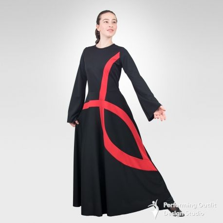 Ichthys bell sleeve dance robe- Black/Red