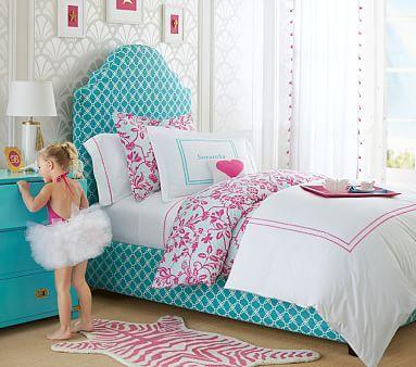 Charlotte Upholstered Bed, Gemma Campaign dresser, floral trellis bedding PBKids