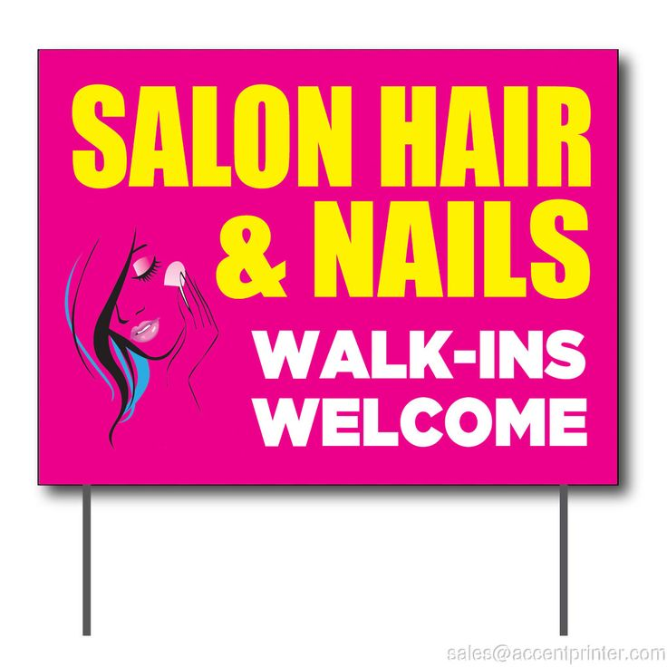 """Salon Hair & Nails Walk-Ins Welcome Curbside Sign, 24""""w x 18""""h, Full Color Double Sided"""
