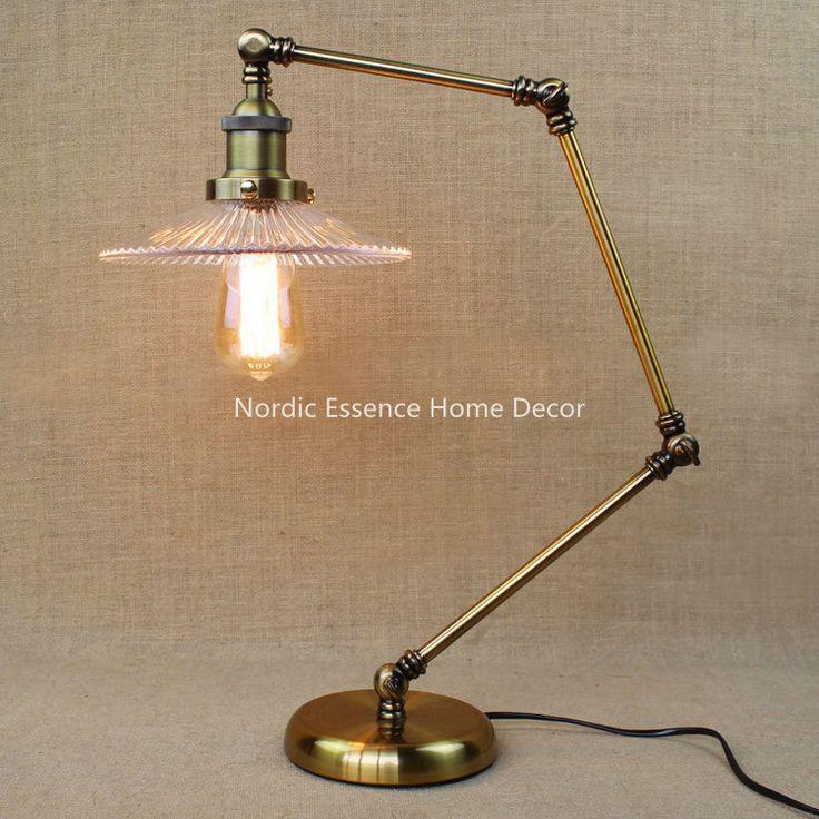 Винтажный стиль industrial стекло абажур гостиная ресторан спальня кабинет офис качество декоративные бронзовая настольная лампа