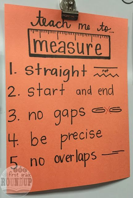 Great mini anchor chart for first graders learning about measurement.