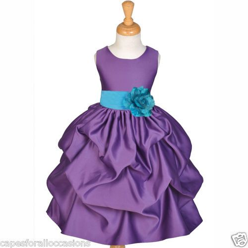 Princess Pageant Wedding Flower Girl Dress Purple Turquoise Blue 9M 2 4 5 6 8 10 | eBay