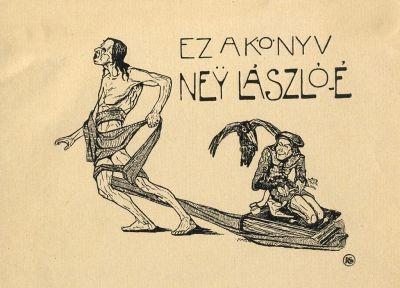 Bookplate by Tibor Bottik for  Ney László, before 1906