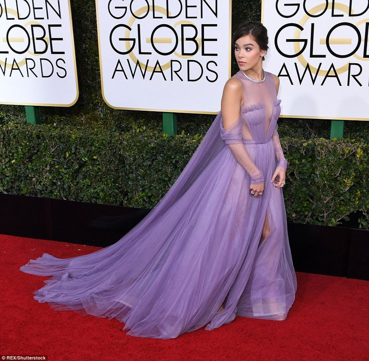 Living the fairytale: Hailee Steinfeld, 20, looked lovely in a lilac chiffon Vera Wang gow...