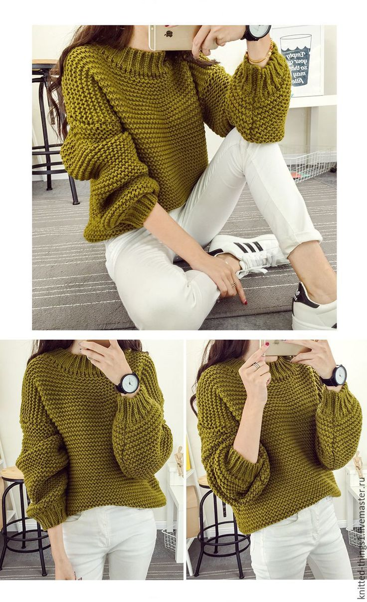 Купить Свитер крупной вязки - хаки, однотонный, вязание на заказ, вязание спицами, вязание, свитер