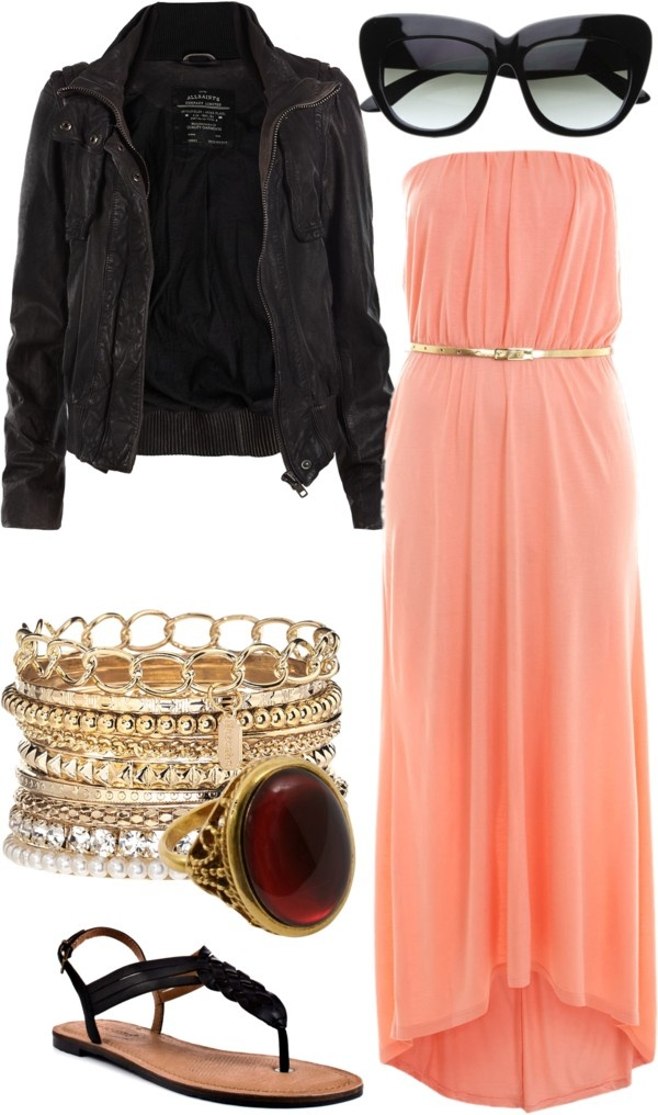 pop of color: Maxi Dresses Jackets, Formal Dresses, Maxi Dresses And Jackets, High Heels Outfits, Fall Outfits, Dresses Outfits With Jackets, Leather Jackets, Peaches Dresses Outfits, Cute Maxi Dresses Outfits