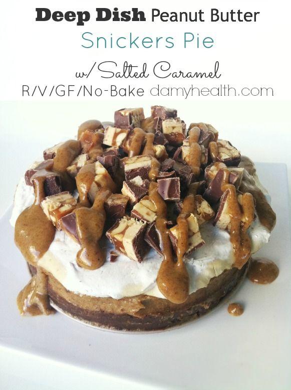 AMAZING!! Raw Vegan No-Bake Deep Dish Peanut Butter Snickers Pie w/ Salted Caramel