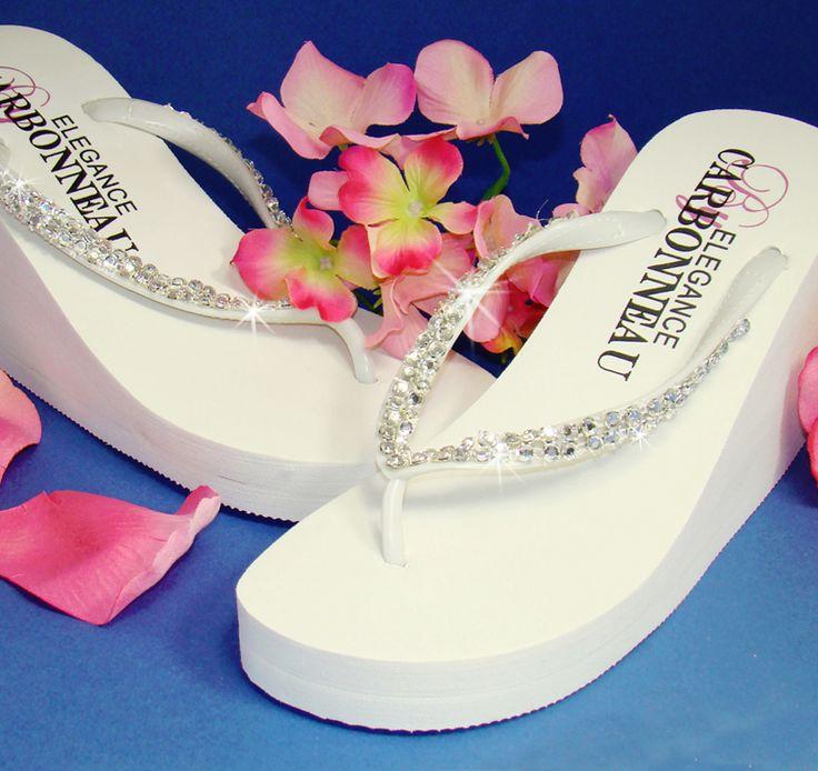 Crystals High Wedge Bridal Flip Flops - Ivory | Ivory Wedding Flip Flops