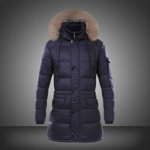 Vendita Moncler Down Jacket Fur Hood Uomo Blu - Nuovi Moncler Cappotti Uomo Vendita