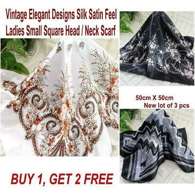 3 Pcs Women's Elegant Small Square Scarf Vintage Print Office Hair Kerchief 121 #fashion #clothing #shoes #accessories