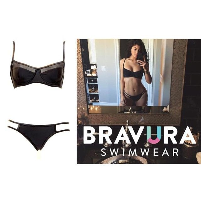 The stunning @kyliejenner in the Rio Black Bikini set by Bravura Swimwear. On SALE now! Get yours at ***www.beactivewear.com.au***