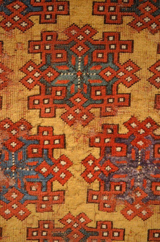 Antique Turkish Anatolian Holbein variant (Konya-Seljuk Turks items in between 13th-15th Centuries) Woolen Rug in Berlin Museum.