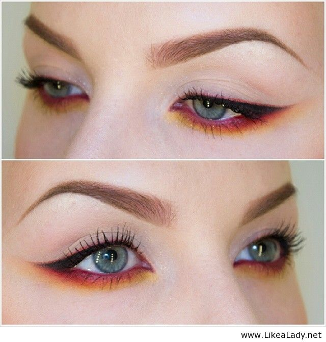 Red eye makeup That's actually quite nice but you have to be careful using a red eyeshadow