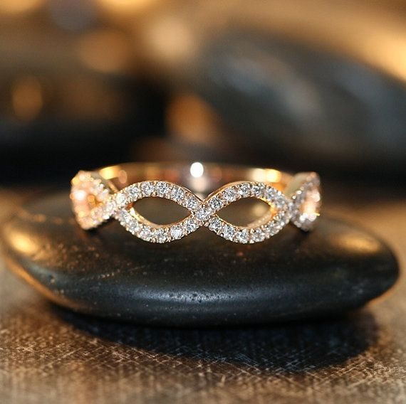 Infinity Diamond Wedding Ring in 14k Rose Gold Infinity Knot Wedding Band Stacking Anniversary Ring (Matching Engagement Ring Available)