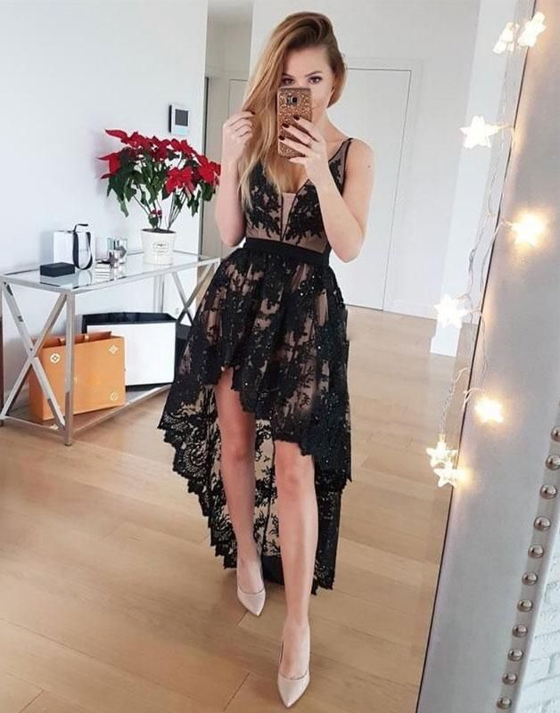 Black V Neck Lace High Low Prom Dress 37acf236c