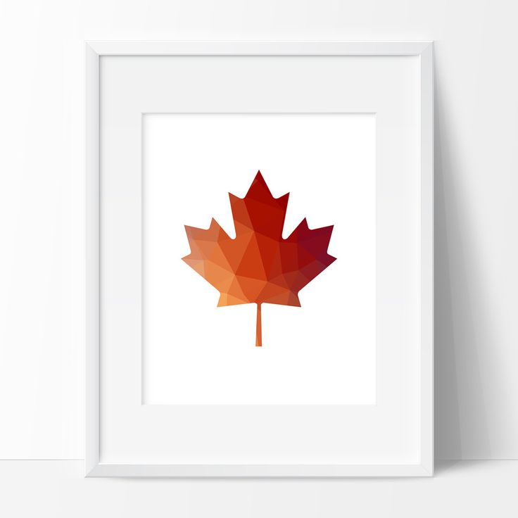 Red Orange Maple Leaf Maple Leaf Print Polygon Art par TopFoxPrints