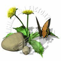 Swallowtail butterfly and dandelions Animated Clipart