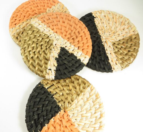 Hey, I found this really awesome Etsy listing at https://www.etsy.com/listing/186132802/hand-painted-rattan-coaster-set-of-4