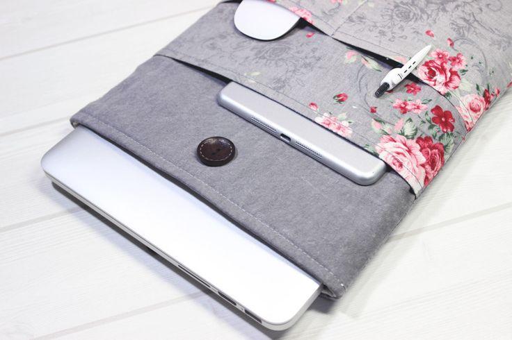 Floral Macbook sleeve, 13 inch laptop case, Macbook Pro Case, Pro Retina 13, Macbook Sleeve 13, laptop Sleeve, Macbook Air sleeve, grey case by LOONdesigns on Etsy https://www.etsy.com/listing/233794233/floral-macbook-sleeve-13-inch-laptop