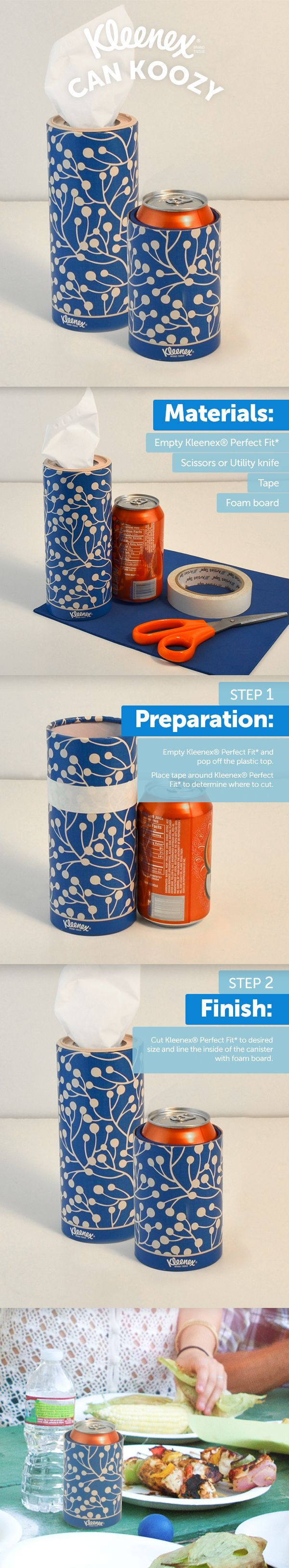 Reuse a Kleenex® Perfect Fit* for a DIY soft drink can koozy.