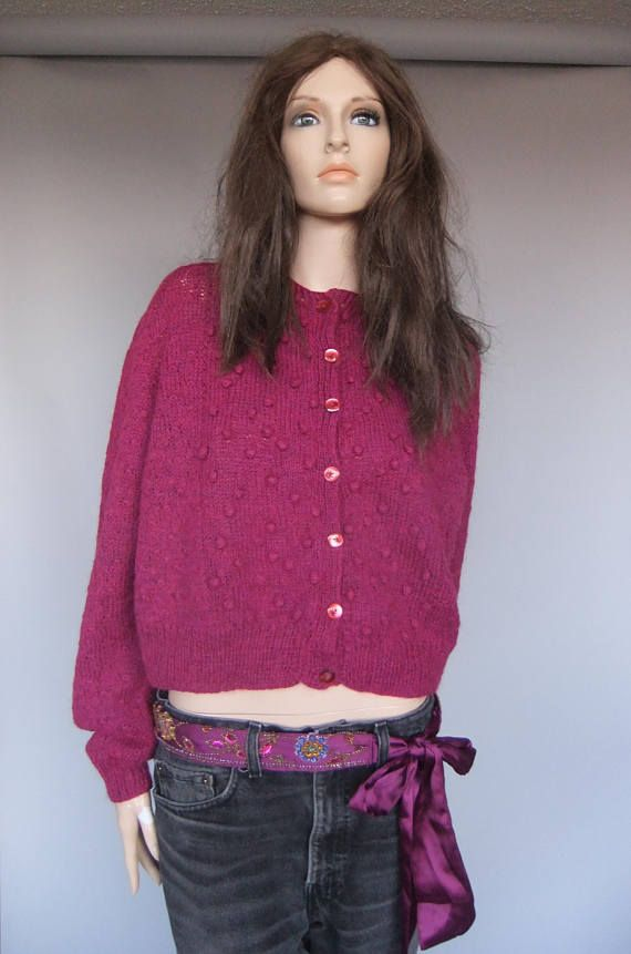 Women's sweater Holt Renfrew vintage cardigan plum