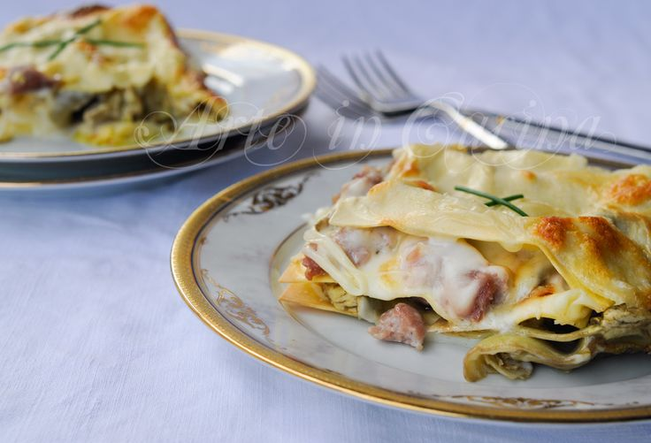 Lasagne carciofi e salsiccia con besciamella vickyart arte in cucina