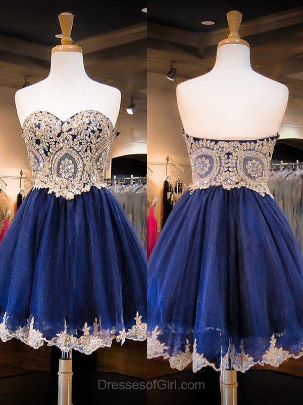 Organza Prom Dress, Beaded Prom Dresses, Roayl Blue Homecoming Dress, Short Homecoming Dresses, Sweetheart Cocktail Dresses