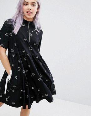Lazy Oaf Zip Face T-shirt Dress