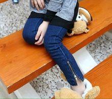2016 Escola Estilo de Jeans Bebê Meninas Moda Outono 2-14A Crianças dos miúdos Grandes Meninas Jeans Zíper Lateral Calças Lápis Leggings(China (Mainland))